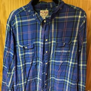 Old Navy blue plaid flannel